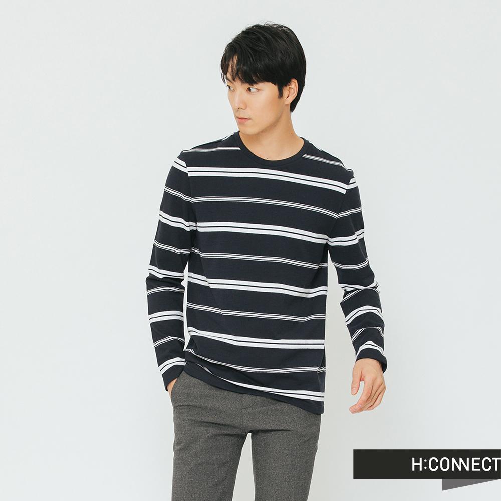 H:CONNECT 韓國品牌 男裝-雙條紋圓領上衣-深藍