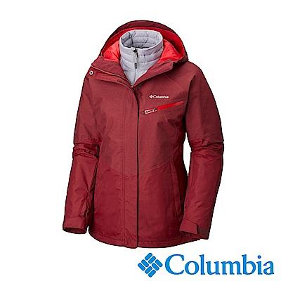 Columbia哥倫比亞 女款-Omni-HEAT鋁點保暖防水兩件式化纖外套-暗紅
