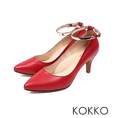 KOKKO - 幸福時光2way尖頭金屬繞踝高跟鞋 - 番茄紅