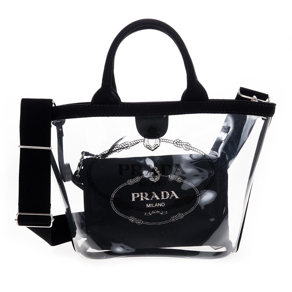 PRADA 透明PVC印字LOGO手提/肩背兩用水桶包附小袋 (小/黑色)PRADA