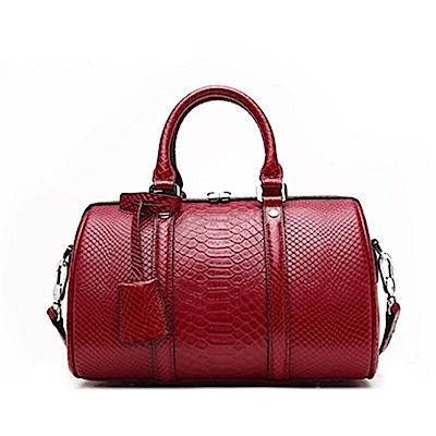 米蘭精品 手提包真皮肩背包-鱷魚紋波士頓斜背女包母親節生日禮物3色73md76