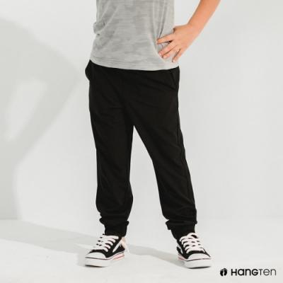 Hang Ten-男童-恆溫多功能-REGULAR FIT標準四向彈力吸濕快乾抗曬運動長褲-黑色