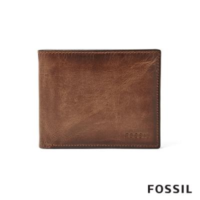 FOSSIL DERRICK 真皮RFID男夾證件套-棕色