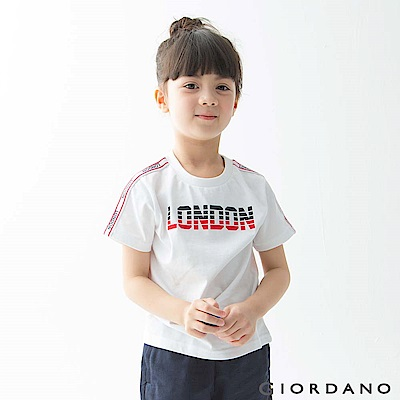 GIORDANO 童裝UNION JACK系列短袖T恤-13 標誌白