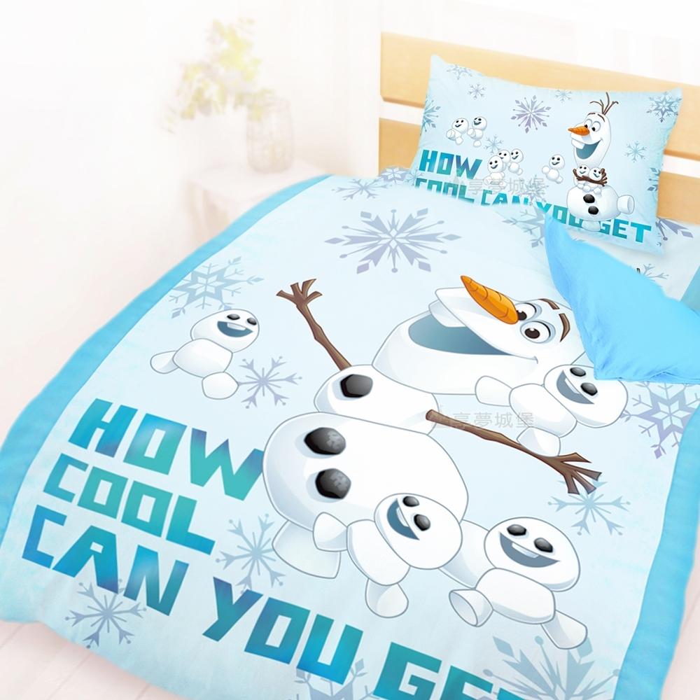 享夢城堡 單人床包雙人薄被套三件組-冰雪奇緣FROZEN迪士尼 雪寶與小雪人-藍