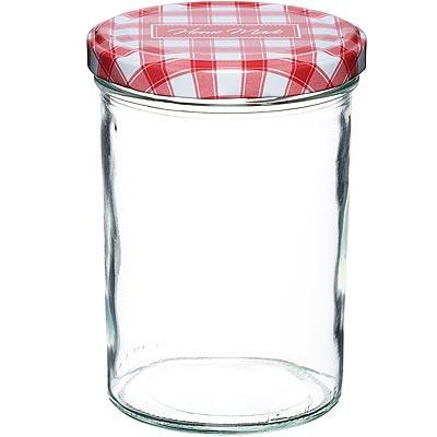 KitchenCraft 旋蓋玻璃密封罐(紅格440ml)