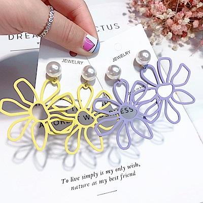 梨花HaNA 韓國有點小誇張夏日花朵耀眼耳環