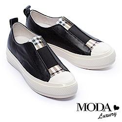 休閒鞋 MODA Luxury 簡約拼接復古格紋全真皮厚底休閒鞋-黑