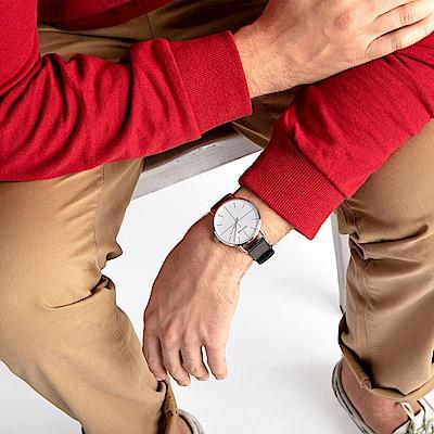 CALVIN KLEIN even 超然系列手錶-白x皮錶帶/42mm