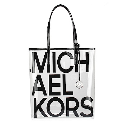 MICHAEL KORS The Michael LOGO字樣水晶透明托特包-大/黑色