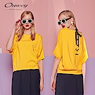 OUWEY歐薇 結飾緞帶寬版上衣(黃/藍)