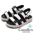 Camille's 韓國空運-織帶魔鬼氈運動休閒厚底涼鞋-白色