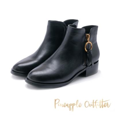Pineapple Outfitter-BALDER 真皮尖頭拉鍊短靴-黑色