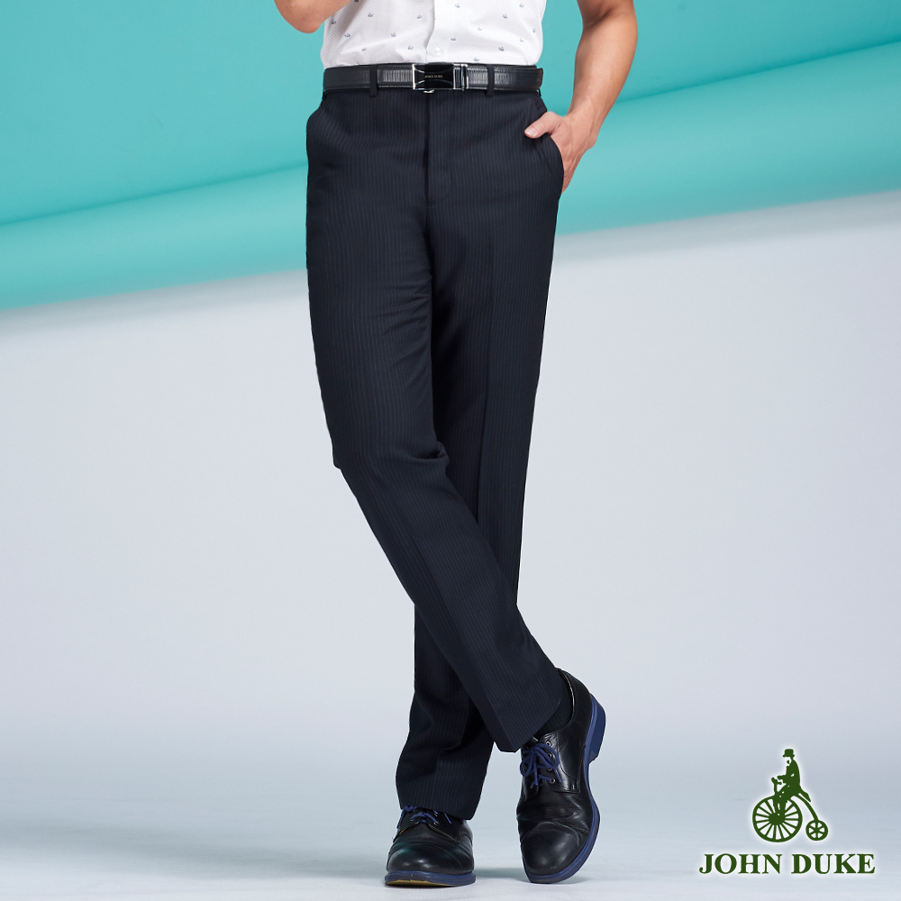 JOHN DUKE商務紳士機能西褲_黑/條紋(11-8B503)