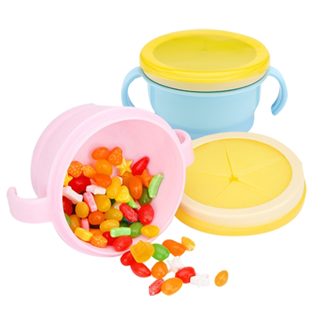JoyNa 嬰兒餅乾防灑碗 寶寶擋片雙柄零食碗餐具組
