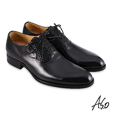 A.S.O職場通勤 3D超動能壓紋牛津紳士鞋-黑