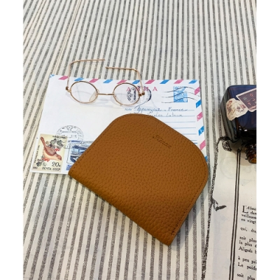 KINAZ 柔軟真皮萬用卡片夾-甜卡其-糖果童話系列