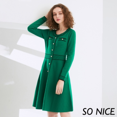 SO NICE小香風配色織紋針織洋裝