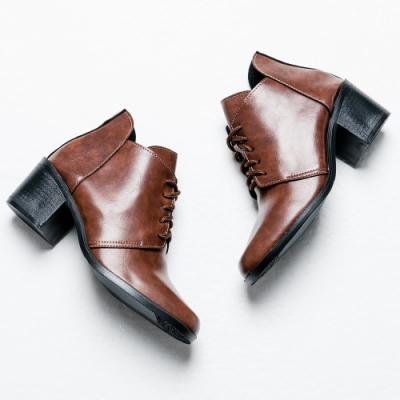 River&Moon短靴-油皮渲染綁帶粗跟短靴 咖棕