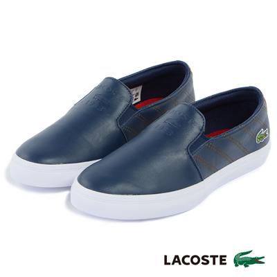 LACOSTE 女用真皮休閒鞋/懶人鞋-藍色