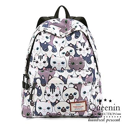 DF Queenin日韓 - 日系學院風可愛貓咪印花後背包