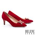 高跟鞋 HELENE SPARK 奢華格調鑽飾羊麂皮尖頭高跟鞋-紅