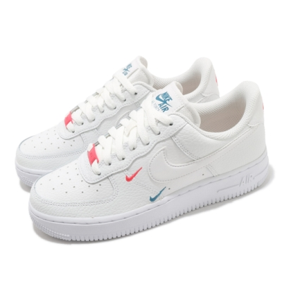 Nike 休閒鞋 W Air Force 1 07 女鞋 ESS 小勾 彩色立體小勾 AF1 白 紅 CT1989101