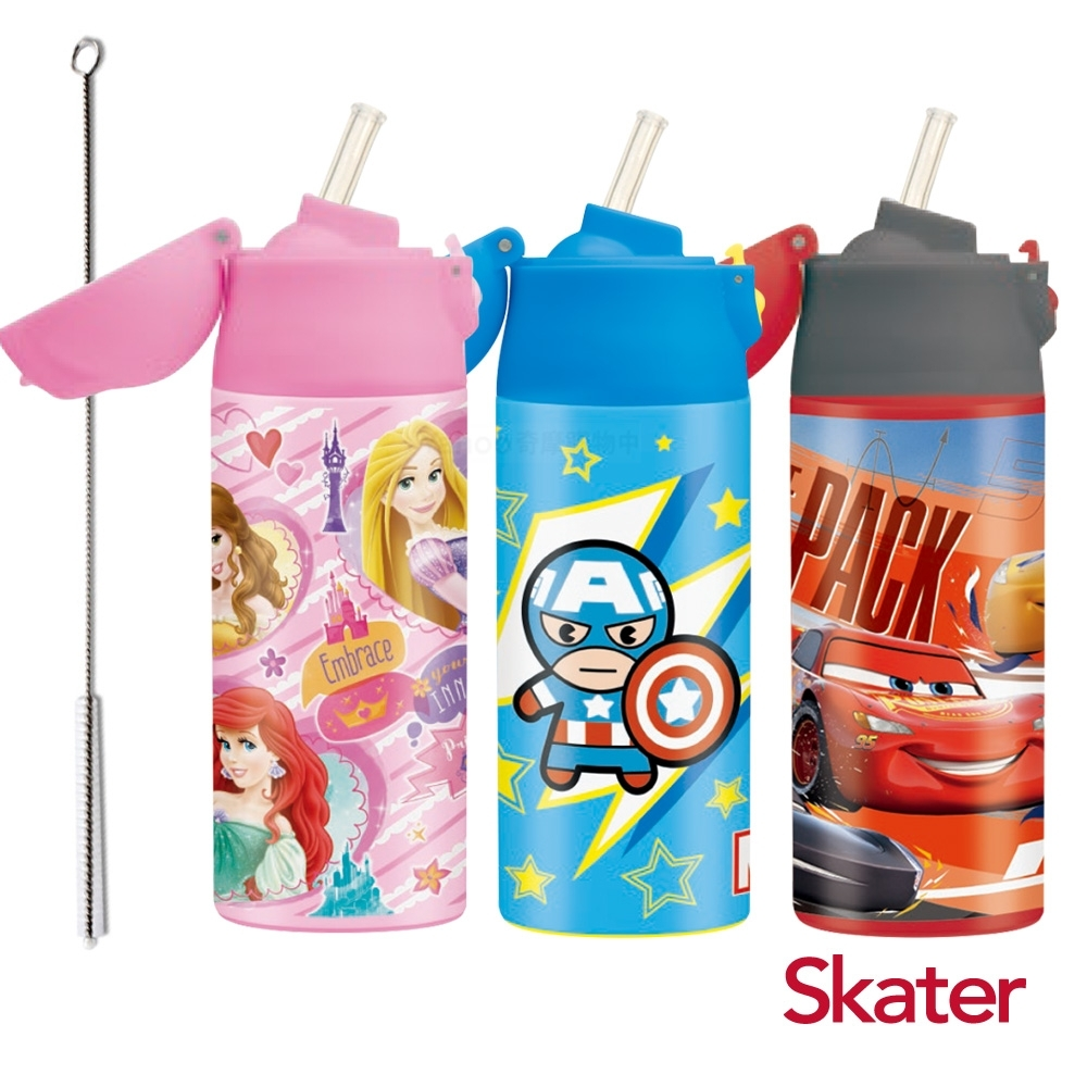 Skater吸管不鏽鋼保溫瓶(360ml) +加贈吸管刷乙支