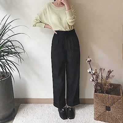 滑面反摺直筒寬褲-2色-TMH