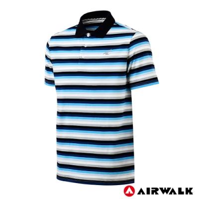 【AIRWALK】男款條紋POLO-白色