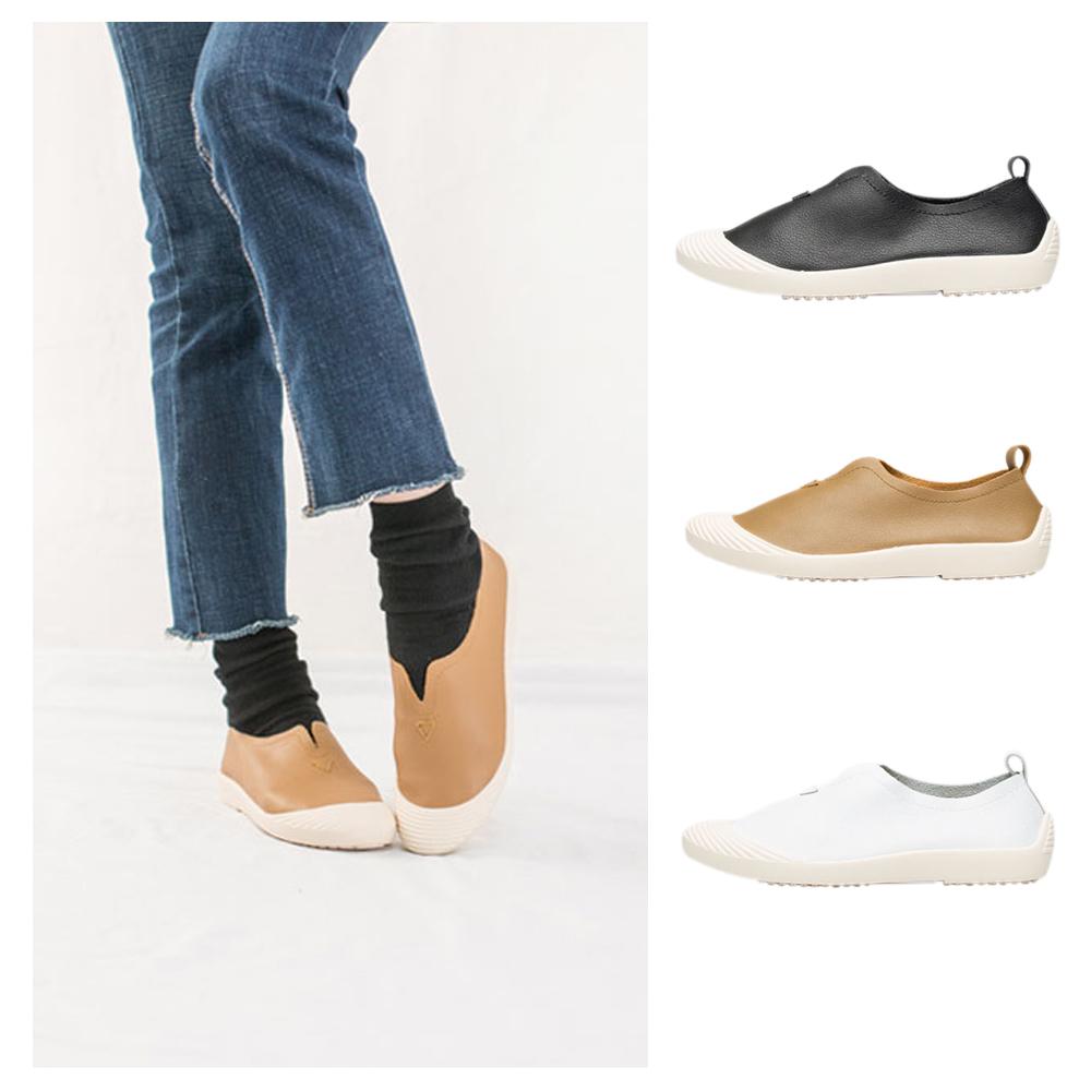【AIRKOREA韓國空運】真皮柔軟貝殼風格休閒鞋-三色