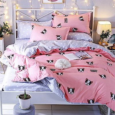 Goelia  加大 親膚棉感活性印染涼被床包組-可愛狗