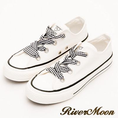 River&Moon韓版寬版緞帶帆布休閒鞋-白