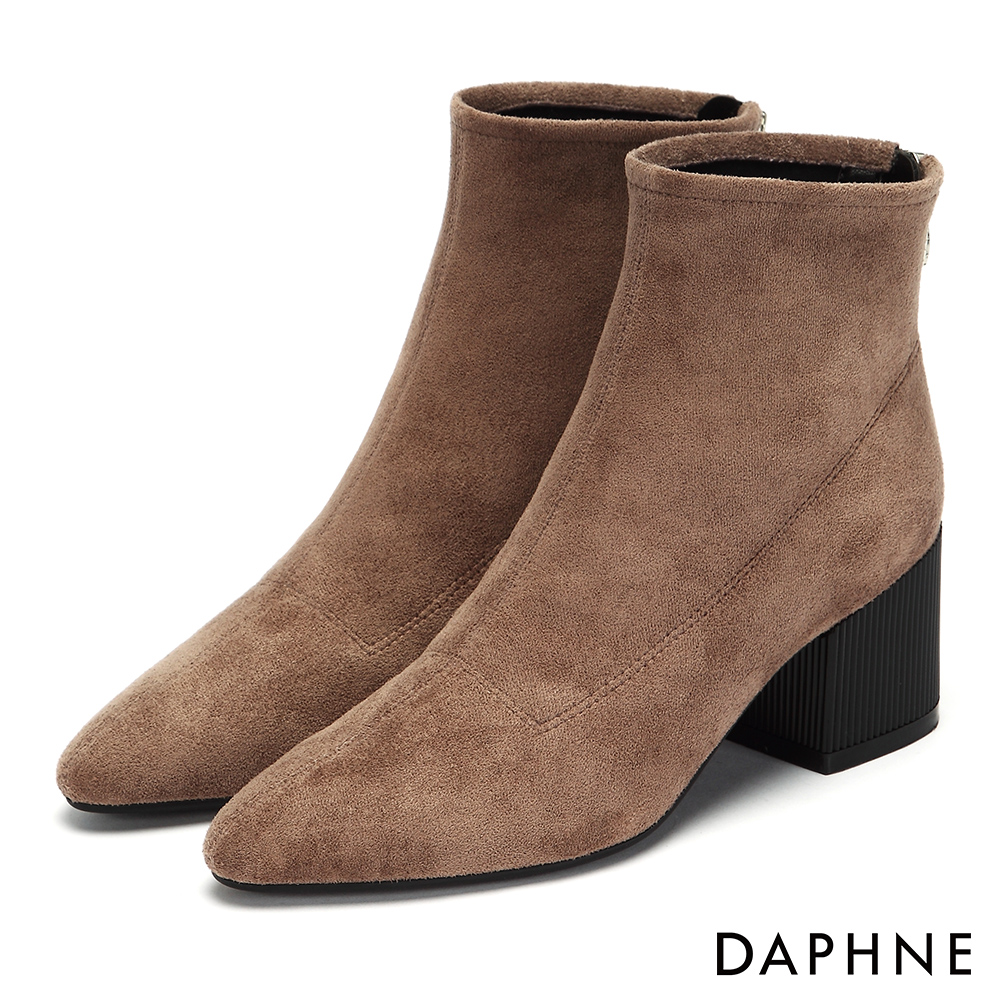 達芙妮DAPHNE 短靴-原色質感絨面復古直紋粗跟-杏