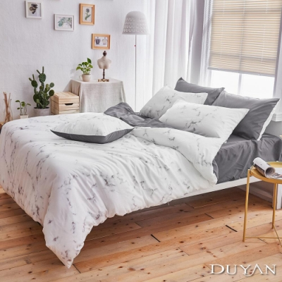 DUYAN竹漾 MIT 天絲絨-單人床包被套三件組-大理石太空灰