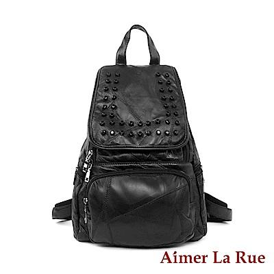 Aimer La Rue 亮感羊皮拼接鉚釘後背包-黑色(快)