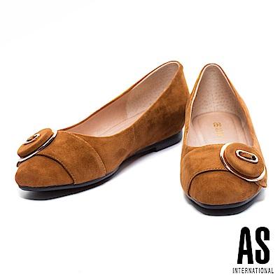 低跟鞋 AS 簡約金邊圓釦羊麂皮方頭低跟鞋-棕