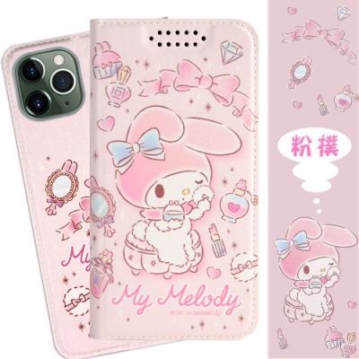 【美樂蒂】iPhone 11 Pro (5.8吋) 甜心系列彩繪可站立皮套(粉撲款)