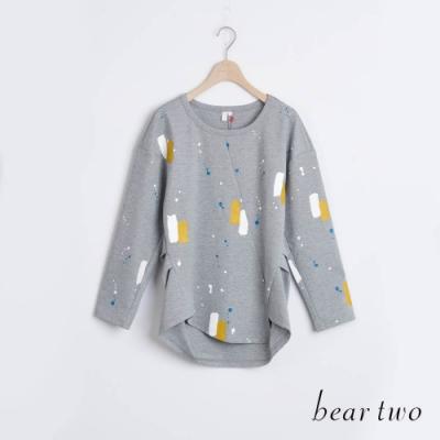 bear two- 繽紛彩帶印刷T - 灰