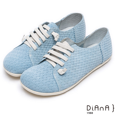 DIANA 小巧可愛—編織牛几皮馬卡龍休閒鞋-淺藍