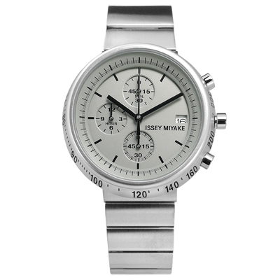 ISSEY MIYAKE 三宅一生 TRAPEZOID系列三眼不鏽鋼手錶-灰色/43mm