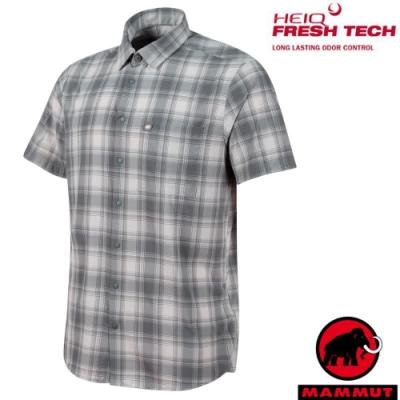 長毛象 男新款 Trovat Trail 輕量彈性透氣格紋短袖襯衫_鈦金灰