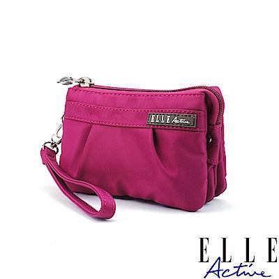 ELLE Active 優雅隨行系列-多夾層零錢包/手腕包/手拿包-桃紅色