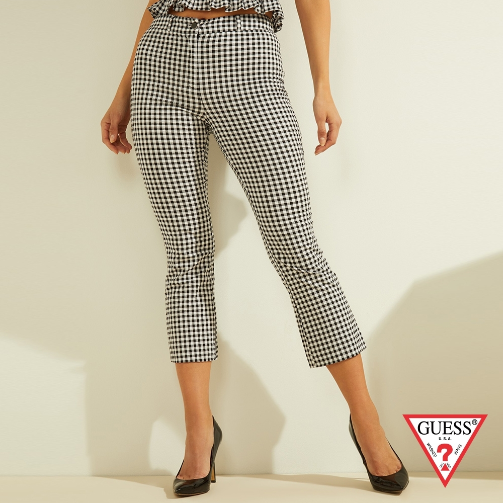 GUESS-女裝-復古格紋小喇叭7分休閒褲-黑白 原價1990