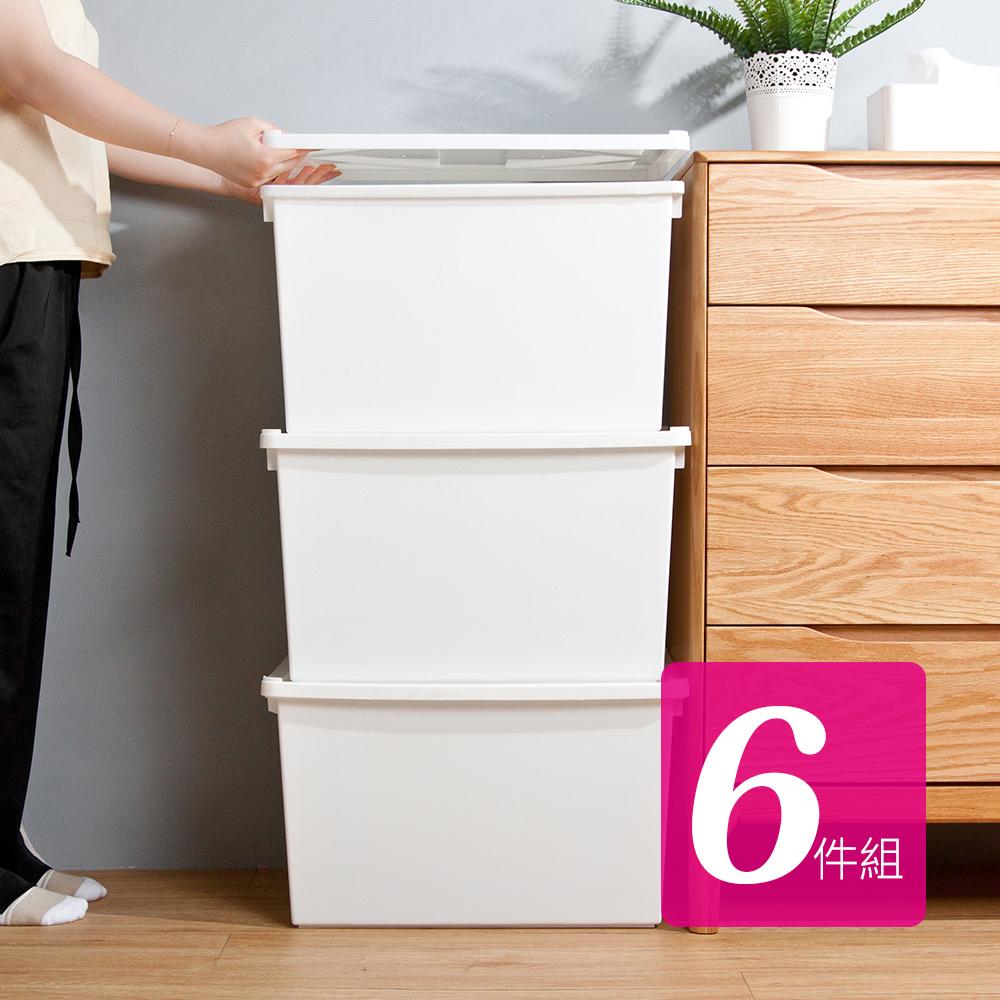 HOUSE 台灣製 純白牛奶附蓋收納盒-直角8號-大高桶(6入)台灣製造