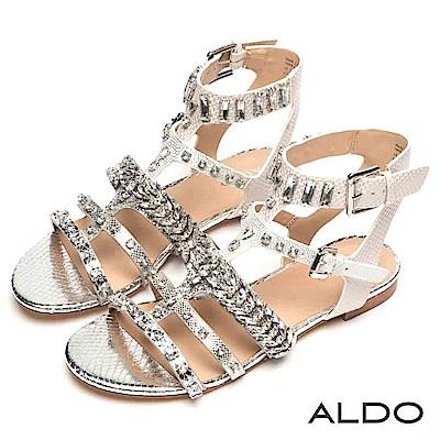 ALDO 原色蛇紋綴幾何水鑽魚骨繫踝粗跟涼鞋~前衛銀色
