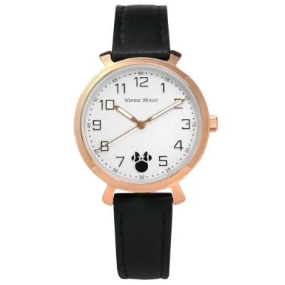 Disney 迪士尼 童趣 米妮刻度 兒童 卡通錶 真皮手錶-白x玫瑰金框x黑/32mm