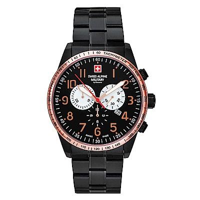 阿爾卑斯軍錶S.A.M 狂蜂系列-大黃蜂/黑色不鏽鋼鍊帶/玫瑰金錶圈/三眼計時/45mm