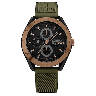 Superdry極度乾燥 潮流三眼時尚手錶-黑X墨綠/43mm