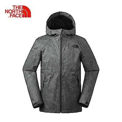 The North Face北面男款灰色防水透氣防風外套